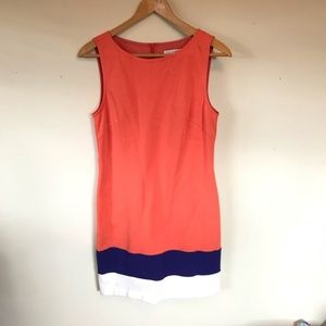 Trina Turk Orange Colorblock Shift Dress